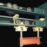 Close up of Q-Flex Overhead Conveyor System