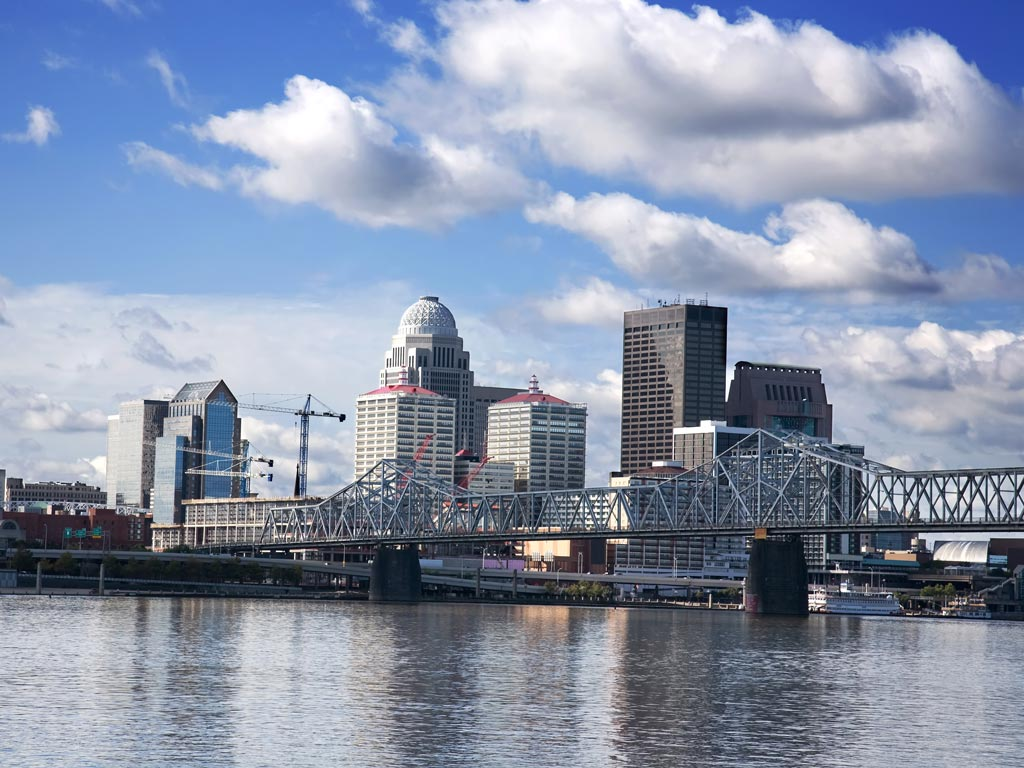 skyline of a Louisville from across the river