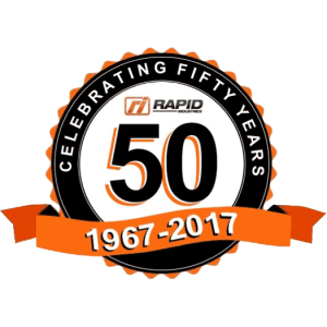 Rapid Industries celebrating fifty years badge