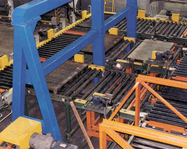 roller system in a factory line