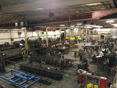 steel factory overhead view